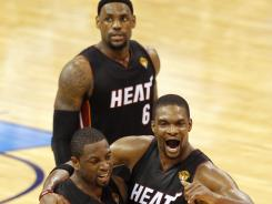 The Heat rested its Big Three, Dwyane Wade (3), LeBron James (6) and Chris Bosh (1), at the end of the regular season to get them healthy for the playoffs rather than try to finish with a better record than the Thunder.