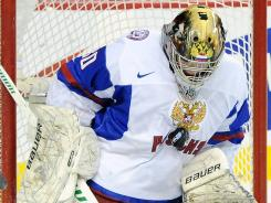 Goalie Andrei Vasilevski plays for Team Russia at the 2012 world junior championships.