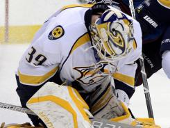 Lindback, above, was Pekka Rinne's backup with the Predators.