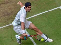 Germany's Tommy Haas, playing a volley to compatriot Philipp Kohlschreiber during their semifinal match, will face world No. 3 Roger Federer in Sunday's final.