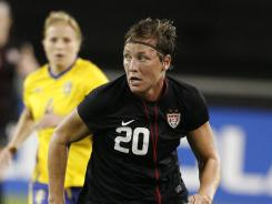 Abby Wambach, shown here at a 2011 match against Sweden, scored her 136th career goal for the U.S. women's team Saturday in a tuneup for the Olympics.