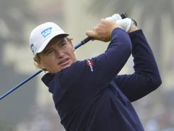 Ernie Els tees off on the fourth hole during the final round of the U.S. Open. Els managed to get through the brutal opening stretch at 1 over on Sunday.