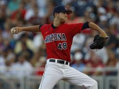 Arizona Wildcats pitcher Konner Wade throw threw a five-hit shutout against their Pac-10 rival UCLA in the College World Series.