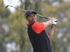Tiger Woods tees off on the second hole during the final round of the 112th U.S. Open at The Olympic Club.
