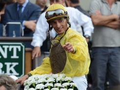 John Velazquez, who rode Union Rags to victory in the Belmont Stakes, broke his right collarbone after being thrown from a horse.