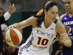 Sue Bird, seen here in a May 18 game, scored a game-high 21 points for the Storm.