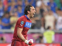 Goalkeeper Gianluigi Buffon celebrates after Italy's 2-0 victory over Ireland, which assured his squad a berth in the tournament's quarterfinals. The Italians will play the winner of Group D on Sunday.