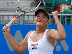 Melanie Oudin of the USA celebrates her victory Monday against Jelena Jancovic of Serbia during the singles final in the AEGON Classic in Birmingham, England.