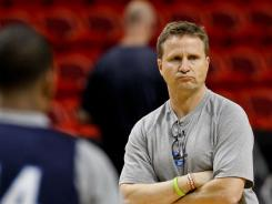 Oklahoma City Thunder coach Scott Brooks looks on during practice for Game 4 on Monday at American Airlines Arena in Miami.