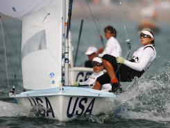 Amanda Clark (left) and Sarah Mergenthaler (right) of the United States compete in the Women's 470 class race in the 2008 Olympics.