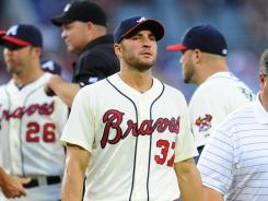 Braves'Brandon Beachy left Saturday's game against the Orioles with an injury.
