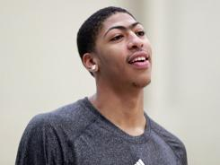 Anthony Davis arrives to talk to reporters while visiting the New Orleans Hornets, who have the first pick of the June 28th draft, at their practice facility in Westwego, La., on June 19.