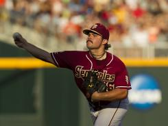 Florida State pitcher Scott Sitz struck out eight Bruins as the Seminoles eliminated UCLA from the College World Series.