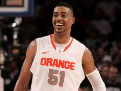Fab Melo missed all the the NCAA tournament, and Syracuse was upset by Ohio State in the Sweet 16.