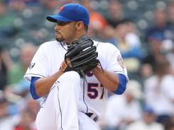 New York Mets starting pitcher Johan Santana threw six shutout innings Tuesday against the Baltimore Orioles.