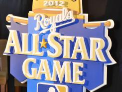 The 2012 All-Star Game logo is unveiled during a ceremony at Kauffman Stadium.