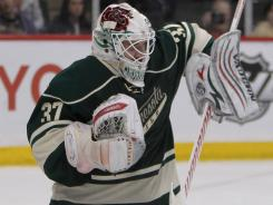 Minnesota Wild goalie Josh Harding makes a save against the New York Rangers.
