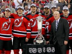 The New Jersey Devils will raise their Eastern Conference championship banner on Oct. 13.