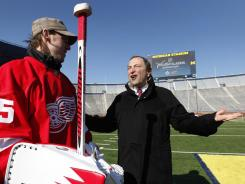 The Jan. 1 Winter Classic at Michigan Stadium will be a season highlight, assuming Commissioner Gary Bettman, right, can reach a labor agreement.