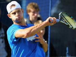 Andy Roddick of the USA practices during Thursday at the AEGON International in Eastbourne, England.