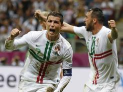 Portugal's Cristiano Ronaldo celebrates after scoring the only goal of the quarterfinal match against the Czech Republic.