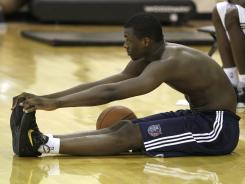 Harrison Barnes stretches after a pre-draft workout for the Bobcats on Thursday.
