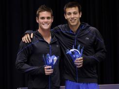 David Boudia, left, and Nick McCory, right, pose for a photo after winning the men's 10-meter synchro U.S. Olympic Team Trials.