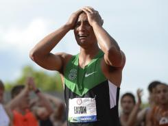 Ashton Eaton set a world record in the decathlon after winning the 1,500. The former Oregon star was cheered by the home crowd at Hayward Field on Saturday.