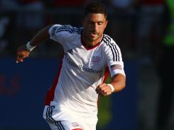 Chris Tierney with the ball during Saturday's match between the New England Revolution and Toronto FC.