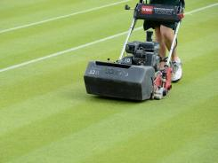 A member of the ground staff tidies up the lawn at the All England Club, a day before the start of Wimbledon.