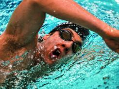 Immersed in training: Weber-Gale, working out in April in Austin, will swim the 50 and 100 freestyles this week in the Olympic trials.