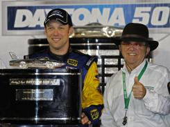 Matt Kenseth, left, and team owner Jack Roush celebrate in victory lane after this year's Daytona 500.