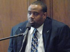 Former Murrah basketball coach Marlon Dorsey testifies in his defense in Hinds County Court in a hearing to determine whether Dorsey could be charged with assault for spanking players with a weight belt. Judge Breland Hilburn ruled that that was no evidence to prove criminal intent in the case. After resigning in May at Murrah, Dorsey has been hired as an assistant at South Panola.
