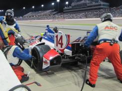 Mike Conway pulls in for a pit stop during Saturday's Iowa Corn Indy 250. Owner A.J. Foyt and his ABC Supply team parked Conway midway through the race.