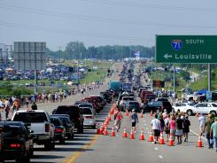 Traffic makes its way to Kentucky Speedway prior to the 2011 NASCAR Sprint Cup Series Quaker State 400.