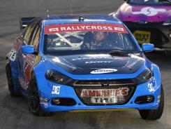 Travis Pastrana competes during Global RallyCross at Charlotte Motor Speedway on May 26. He'll drive Rally in this week's X Games.