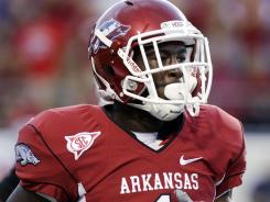 Arkansas wide receiver Marquel Wade is one of three players charged with burglarizing dorm rooms.
