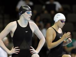 Missy Franklin, left, and Katie Hoff prepare to compete in the preliminaries of the women's 200 freestyle at the U.S. Olympic swimming trials in Omaha on Wednesday.