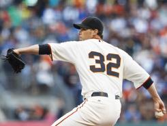 Giants pitcher Ryan Vogelsong beat the Dodgers for the seond time this season in a 2-0 victory on Tuesday.