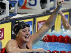 Allison Schmitt celebrates her win in the women's 200-meter freestyle at the U.S. Olympic Trials.