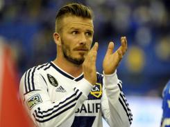 David Beckham, here saluting the crowd after a game with the L.A. Galaxy, has not been selected to play in the Olympics for Britain.