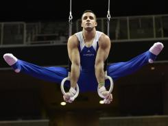 Danell Leyva scored 43.950 in the rings for eighth place in the discipline Thursday but is the overall leader at the men's trials.