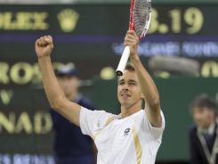 Lukas Rosol of the Czech Republic celebrates his upset victory against two-time champ Rafael Nadal on Thursday at Wimbledon. Rosol broke Nadal in the first game of the fifth set.