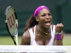 Serena Williams of the USA pumps her fist on her way to a second-round, 6-1, 6-4 victory against Melinda Czink of Hungry.