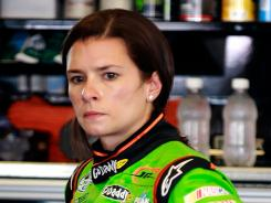 Danica Patrick, in her garage at Kentucky Speedway, was on her way to a top-five finish before being spun on the last lap last week at Road America.