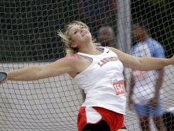 Shelbi Vaughn has been the top high school Olympic trials performer so far, finishing just off the podium in fourth place in the women's discus at 195-9.