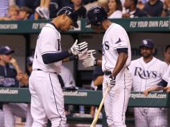 Tampa Bay Rays left fielder Desmond Jennings, left, is hitting .241 with five home runs and 21 RBI this season.