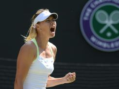 Maria Sharapova roars her approval during her third-round victory Friday against Su-Wei Hsieh of Taiwan on Day 5 at Wimbledon.