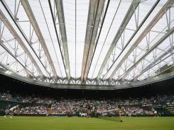 View of Centre Court with the roof closed. The policy of when to close and when not to close is not clear to all the players.