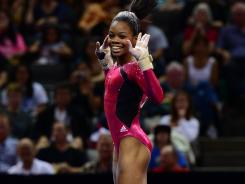 Gabby Douglas performs on the floor exercise during the U.S. Olympic gymnastics trials.